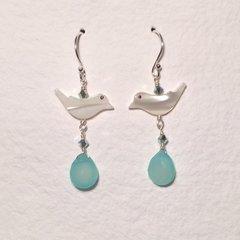 Aqua Chalcedony and Mother-of-Pearl Bird Earrings