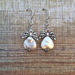 Guardian Angel Pearl and Swarovski Crystal Earrings