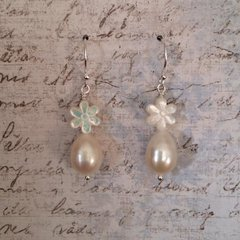 Freshwater pearl and Mother-of-pearl Daisy Earrings on Sterling Silver