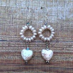 Freshwater Pearl and Swarovski Crystal Hoop and Heart Earrings