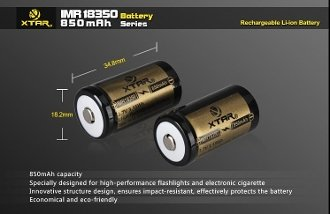 XTAR 18350 850mAh LiMn Rechargeable Battery (2-Pack)