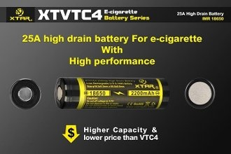 XTAR18650 2200mAh XTVTC4 High Drain Rechargeable Battery
