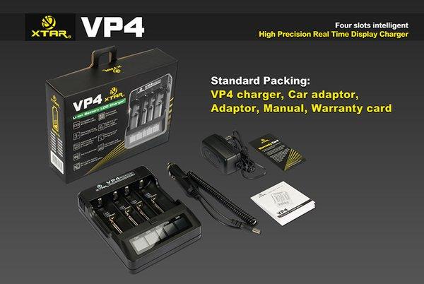 XTAR VP4 Li-ion Intelligent Charger w/ AC & DC Cords