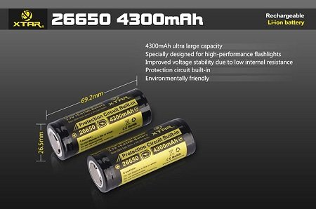 XTAR 26650 4300mAh Li-ion Rechargeable Battery (1 pc) w/ CASE