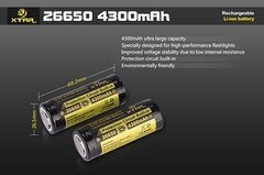 XTAR 26650 4300mAh Li-ion Rechargeable Battery (1 pc) w/ CASE