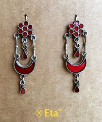 Silver red glass earring