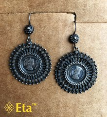 Silver coin earring