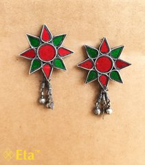Silver floral glass stud