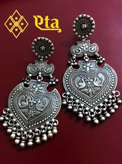 Kashmiri Flat Silver Earrings