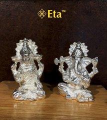 Silver ganesha lakshami idol