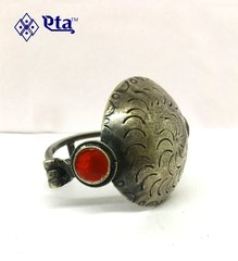 Silver antique kada with red glass work
