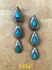Silver turquoise drop earring