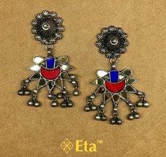 Silver multi color glass tribal earring