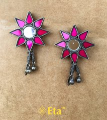 Silver floral glass earring