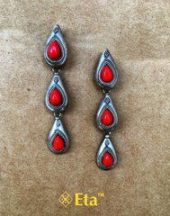 Silver coral stone drop earring