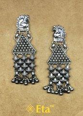 Silver peacock jhalla earring