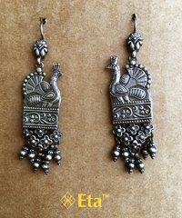 Silver peacock jhalaa earring