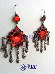 Silver red glass tribal earring
