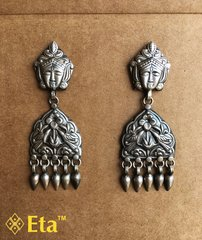 Silver tribal mata patri earring
