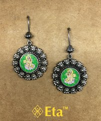 Silver saraswati painted earring