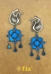 Silver peacock glass earring
