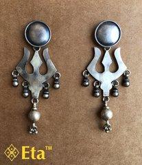 Silver tribal trishul earring
