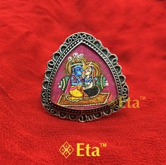 Silver radha krishna painted ring