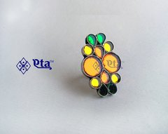 Silver multi color glass ring
