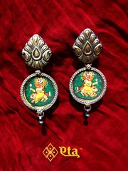 Silver ganesha painting earring