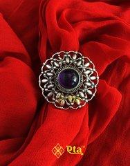 Silver fine amethyst ring
