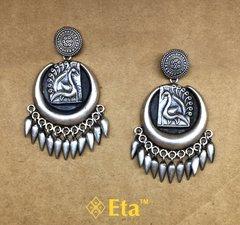 Silver tribal chandbali