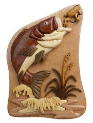 Bass & Frog Intarsia Puzzle Box crafted fro Beechwood