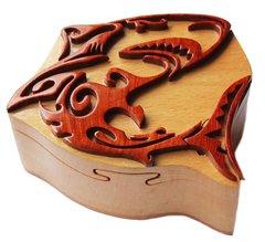 Great White Shark Tribal Art Wooden Secret Puzzle Box