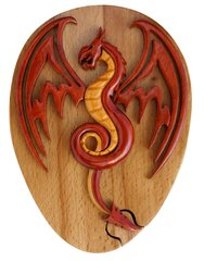 Red Dragon Tribal Art Wooden Secret Puzzle Box