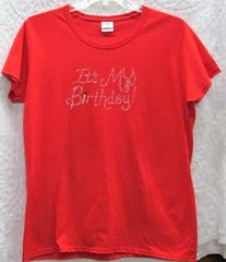 """Rhinestone """"It's My Birthday"""" Red T-shirt"""