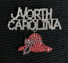 NORTH CAROLINA with a Red Hat Dangle rhinestone pin