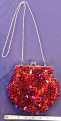 Red and purple Sequin Purse with Removable Chain