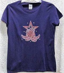 Rhinestone Western Boots Purple T-shirt