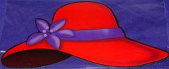 Red Hat Car Magnet with Purple Feather OR Purple Flower