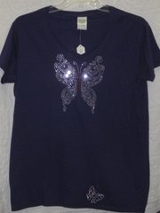 Rhinestone Butterfly Purple T-shirt