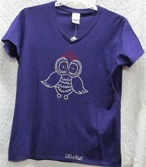 Rhinestone Owl Purple T-shirt