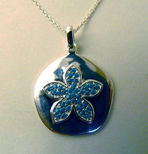 Sterling silver sand dollar pendant with turquoise michaels sterling silver sand dollar pendant with turquoise aloadofball Image collections
