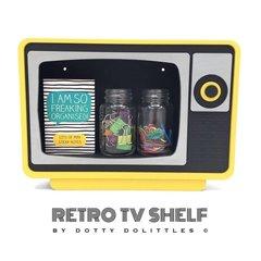 Wooden Retro TV Shelf