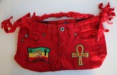 Happy 2B Nappy Jean Bag With Ankh RBG BOB Marley & Rastafari Patch
