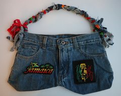 H2BN Jean Bag with Bob Marley Rasta Bag Patches