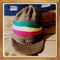 H2BN Olive Green Red Gold & Green Knitted Hat Now On Sale