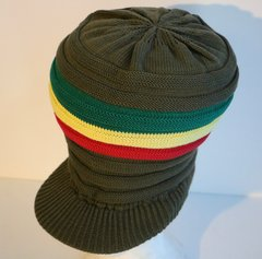 H2BN Knitted Olive Green Crown or Hat with  Red Gold & Green Colors Now On sale :)