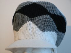 Happy 2B Nappy Knitted White Gray & Black Knitted Hat
