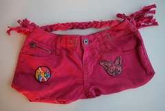 H2BN Yamassee  Pink Jean Bag with Butterfly Patches