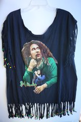 H2BN Ancient Ones Fringe Bob Marley Beaded T-Shirt
